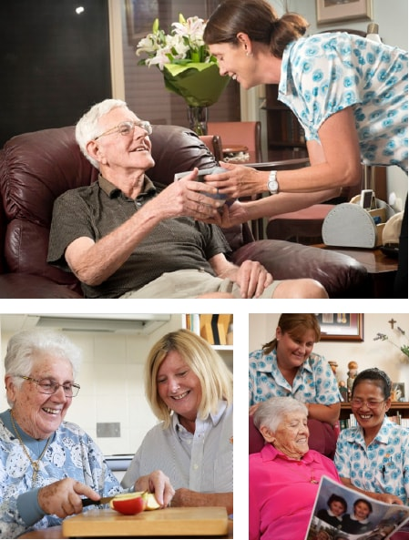 Collage of photos showing IRT home care staff