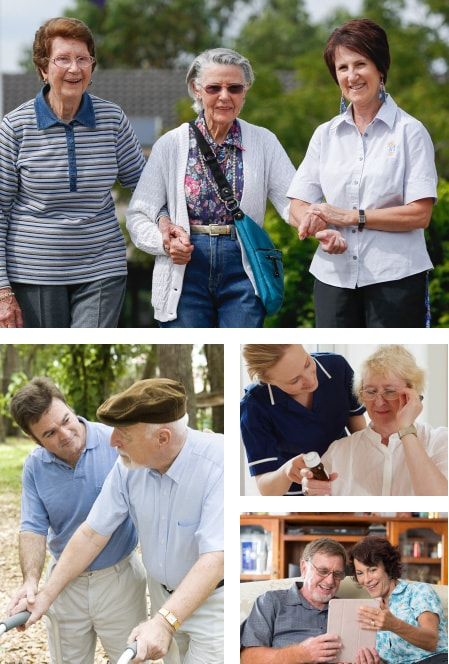 Collage of photos showing life at an IRT aged care centre