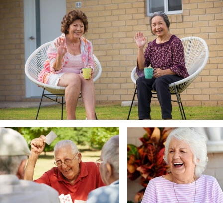 Collage of residents at IRT retirement villages enjoying themselves outside