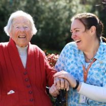 Home care customer Sheilah Barrie with home care worker Katie Hirst.